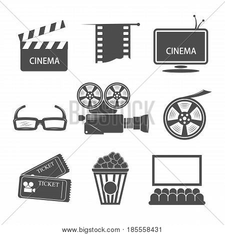 Isolated black and white drawn cinema elements including camera filmstrip