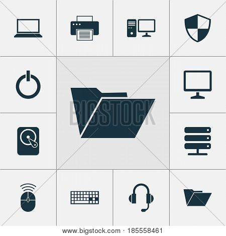 Computer Icons Set. Collection Of Database, Personal Computer, Dossier And Other Elements. Also Includes Symbols Such As Keyboard, Hard, Earphone.