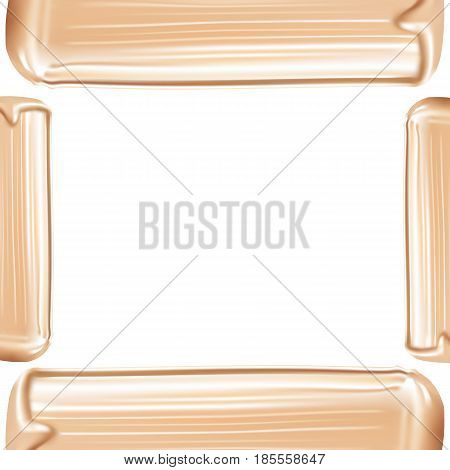 Cosmetic liquid foundation cream smudge smear strokes. Make up smear isolated on white background