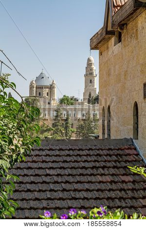 View of the Dormition Abbey outside the walls of the Old City of Jerusalem Israel