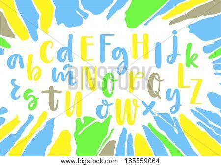 Yellow blue green mixed lowercase and uppercase handwritten vector brush pen alphabet on white background with smudges.