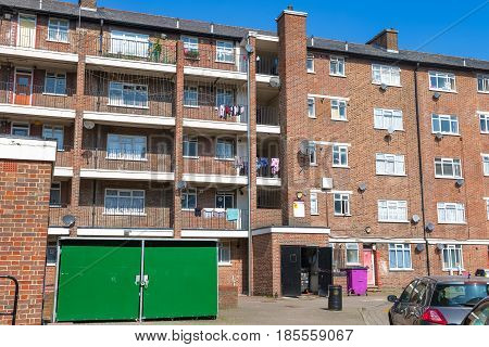 Council housing flat block in East London