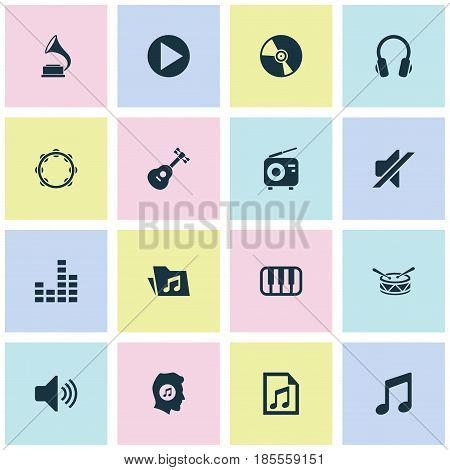 Music Icons Set. Collection Of Sound, Equalizer, Cd And Other Elements. Also Includes Symbols Such As Play, Earphone, Gramophone.
