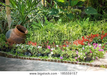 Green Garden Of Resort And Spa Surrounding stock photo