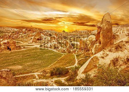 Cappadocia, Turkey. Sunset - volcanic rock landscape, Goreme national park. Love valley