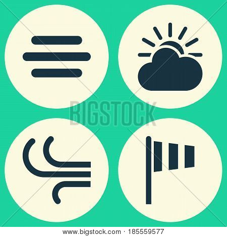Nature Icons Set. Collection Of Flag, Haze, Sun-Cloud And Other Elements. Also Includes Symbols Such As Vane, Sun, Flag.