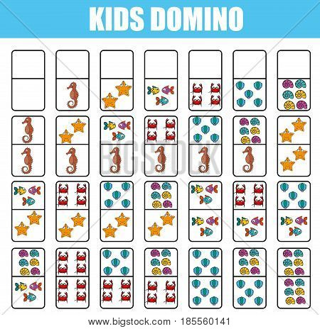 Domino for kids. Children educational game. Printable activity, board game. marine life, sea animals