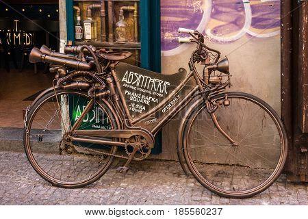 PRAGUE, CZECH REPUBLIC - MAY 2 2016: Vintage bycicle near absent museum in Prague, Czech Republic.