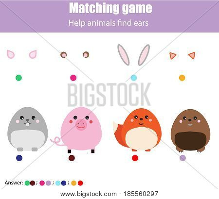 Matching children educational game. Help animals find ears. Activity for pre shool years kids