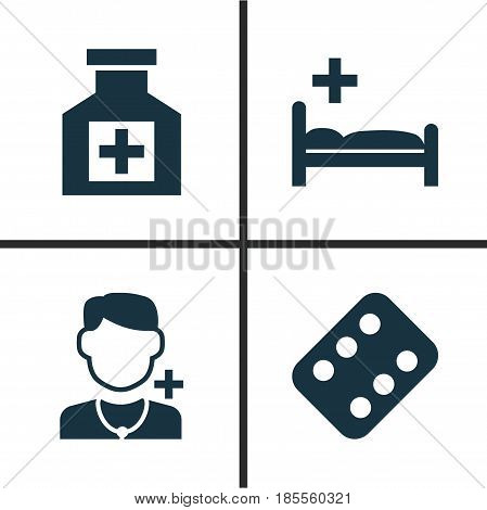 Drug Icons Set. Collection Of Polyclinic, Painkiller, Remedy And Other Elements. Also Includes Symbols Such As Painkiller, Illness, Medicament.