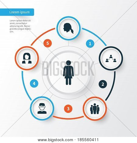 Human Icons Set. Collection Of Businesswoman, Gentlewoman Head, Network And Other Elements. Also Includes Symbols Such As Man, Relation, Female.