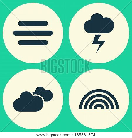 Weather Icons Set. Collection Of Lightning, Haze, Weather And Other Elements. Also Includes Symbols Such As Rainy, Overcast, Weather.