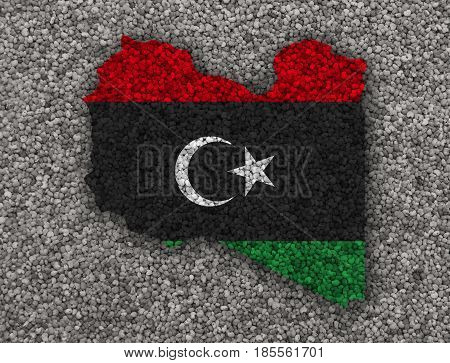 Map And Flag Of Libya On Poppy Seeds