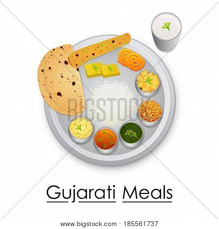 vector illustration of Plate full of delicious Gujratiil Meal from India