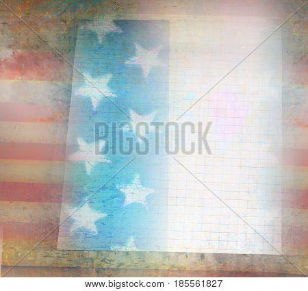 Grungy american flag frame card , raster