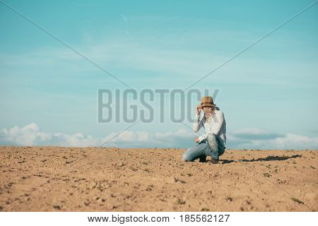 Traveler woman outdoor. Travel concept stock photo.
