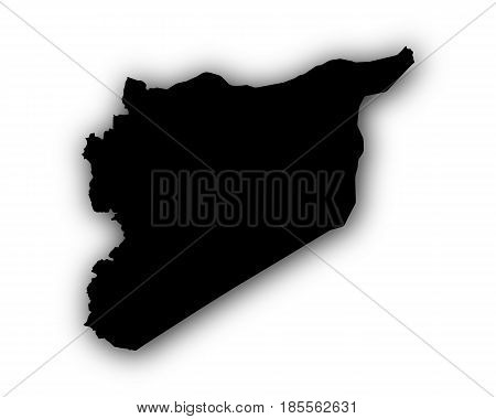 Map Of Syria With Shadow