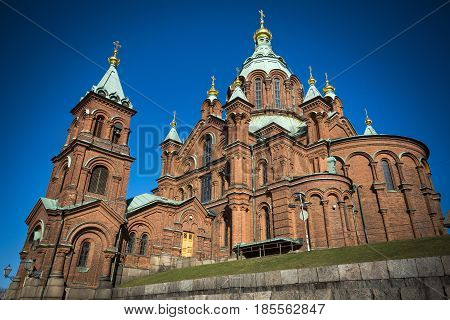 Uspenski Cathedral in sunshine in the Finnish capital Helsinki