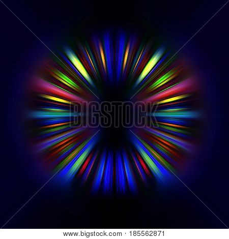Colourful light trails starburst on a black background