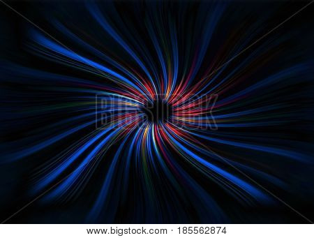 Colourful red and blue curved light trails starburst on a black background