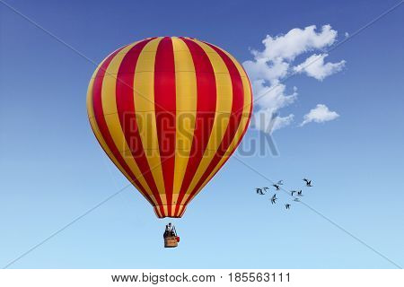 Hot air balloon on a clear blue sky