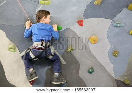 Portrait of a child on climbing wall