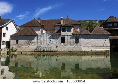 Village of Ornans in Jura Franche-Comte France