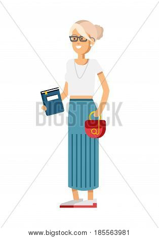 Vector detailed character people, character young women or sudent with book, woman in casual clothing style. Creative woman isolated on white background