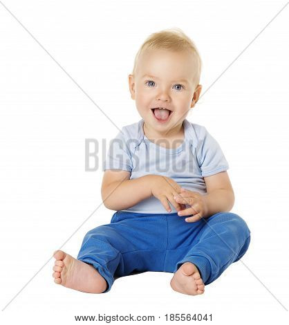 Baby over White Background Happy Kid One Year old Smiling Child Boy Sitting in Blue Clothing