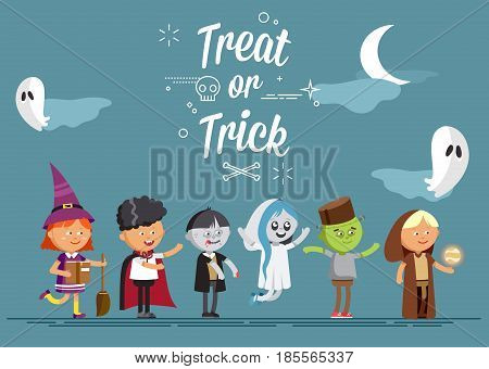 Happy Halloween. Set of cute cartoon children in colorful halloween costumes witches, ghost, skeleton, zombie. Flat illustration set of halloween kids isolated on white background.
