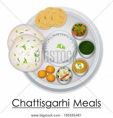 vector illustration of Plate full of delicious Chhattisgarhil Meal from India