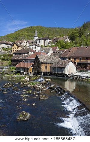 Lods and the River Doubs Jura Franche Comte France