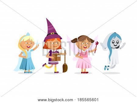 Happy Halloween. Set of cute cartoon children in colorful halloween costumes witches, ghost, ice queen, faerie. Flat illustration set of halloween kids isolated on white background.