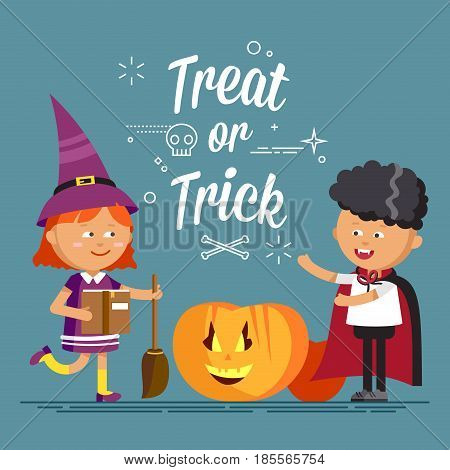 Happy Halloween. Cute cartoon children in colorful halloween costumes witches and vampire. Flat illustration of halloween kids walking on night street
