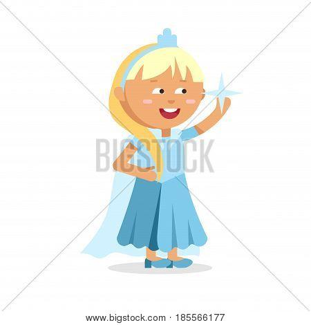 Beautiful blonde ice princess in blue dress. Dress for costume party frozen girl. Fairy female cartoon character isolated on white background.