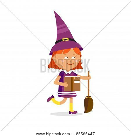 Little witch, cute cartoon girl in the Halloween costume with broom and spell book isolated on white background. Vector illustration male magic character