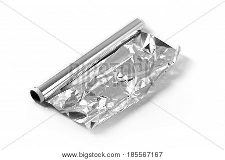 aluminum foil roll isolated on white background