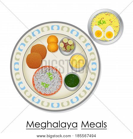 vector illustration of Plate full of delicious Meghalaya Meal from India