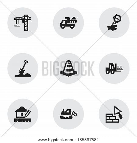 Set Of 9 Editable Building Icons. Includes Symbols Such As Endurance, Facing, Notice Object And More. Can Be Used For Web, Mobile, UI And Infographic Design.