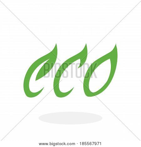 Eco icon isolated on white background. Eco vector logo. Flat design style. Modern vector pictogram for web graphics - stock vector