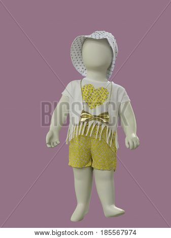 Full-length child mannequin dressed in casual clothes isolated. No brand names or copyright objects.