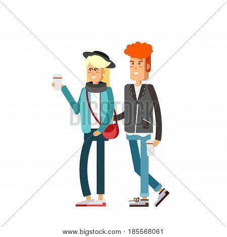 Vector flat illustration of young couple walking and drink coffee. Blonde woman and ginger handsome man character. Romantic walk.