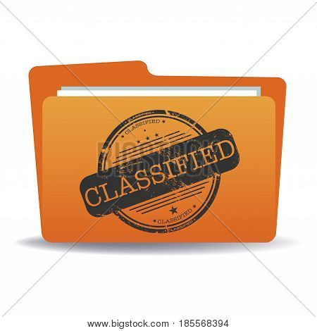 Isolated orange file with a black stamp with the word classified written in the middle of the folder