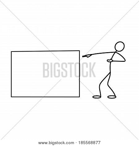 Cartoon icon of sketch stick business figure vector man in cute miniature scenes.