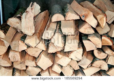 Firewood chopped for barbecue. Chopped wood for kindling