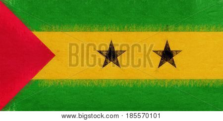 Flag Of Sao Tome And Principe Grunge.