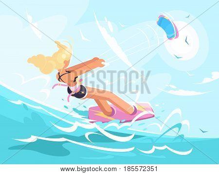 Sport girl skating on kite surfing on sea. Vector illustration