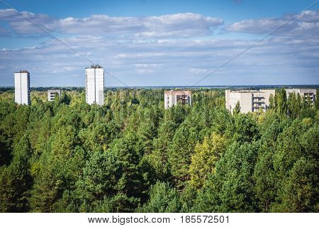 Blocks of houses in Pripyat ghost town of Chernobyl Exclusion Zone Ukraine
