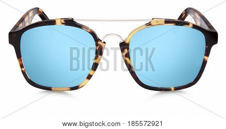 sun glasses spotted brown blue mirror lenses isolated on white background
