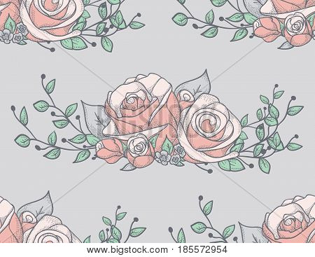 Vector Colorful Decorative Seamless Backdround Pattern with Drawn Flowers, Roses with Branches. Doodle Style Greenery, Lush Foliage, Foliate. Vector Illustration. Pattern Swatch